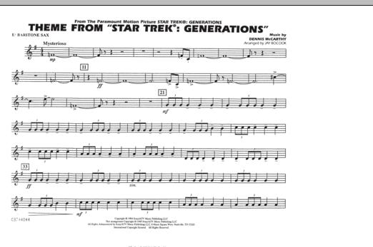 Theme from Star Trek: Generations - Eb Baritone Sax (Marching Band)