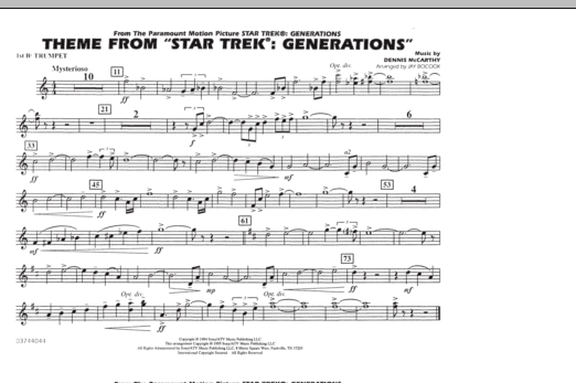 Theme from Star Trek: Generations - 1st Bb Trumpet (Marching Band)