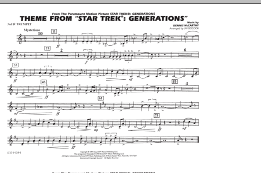 Theme from Star Trek: Generations - 3rd Bb Trumpet (Marching Band)