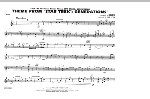 Theme from Star Trek: Generations - F Horn (Marching Band)