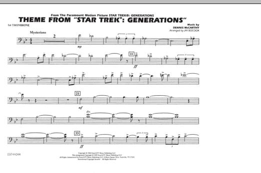 Theme from Star Trek: Generations - 1st Trombone (Marching Band)