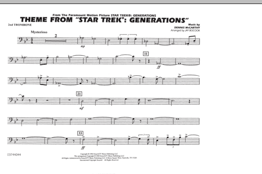 Theme from Star Trek: Generations - 2nd Trombone (Marching Band)
