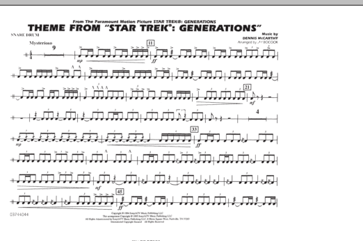 Theme from Star Trek: Generations - Snare Drum (Marching Band)