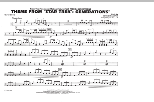 Theme from Star Trek: Generations - Quad Toms (Marching Band)