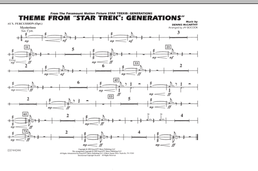 Theme from Star Trek: Generations - Aux Percussion (Marching Band)