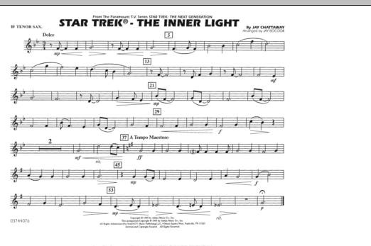 Star Trek - The Inner Light - Bb Tenor Sax (Marching Band)