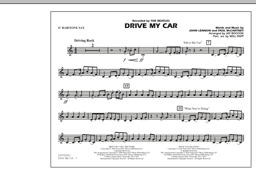 Drive My Car - Eb Baritone Sax (Marching Band)