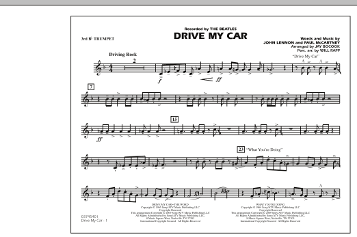 Drive My Car - 3rd Bb Trumpet (Marching Band)