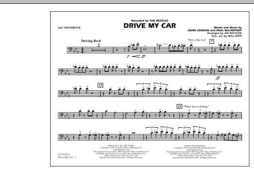 Drive My Car - 2nd Trombone (Marching Band)