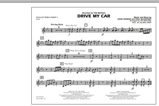 Drive My Car - Mallet Percussion 1 (Marching Band)