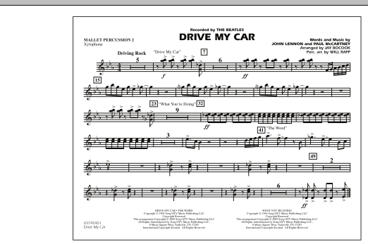 Drive My Car - Mallet Percussion 2 (Marching Band)