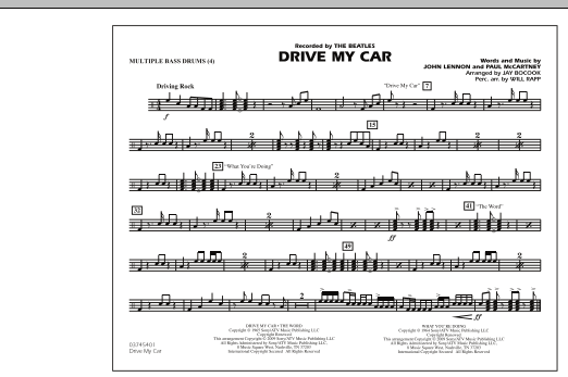 Drive My Car - Multiple Bass Drums (Marching Band)