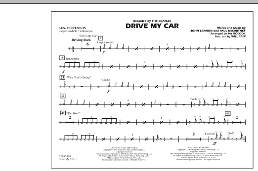 Drive My Car - Aux Percussion (Marching Band)