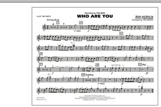 page one of Who Are You - 1st Bb TrumpetASALTTEXT