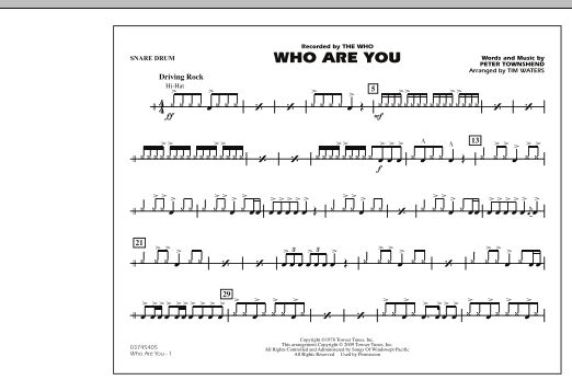 Who Are You - Snare Drum (Marching Band)