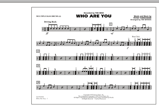 Who Are You - Multiple Bass Drums (Marching Band)