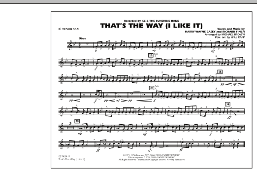 That's the Way (I Like It) - Bb Tenor Sax (Marching Band)