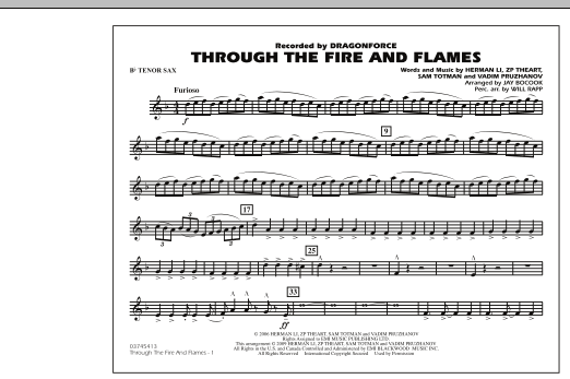 Through the Fire and Flames - Bb Tenor Sax (Marching Band)