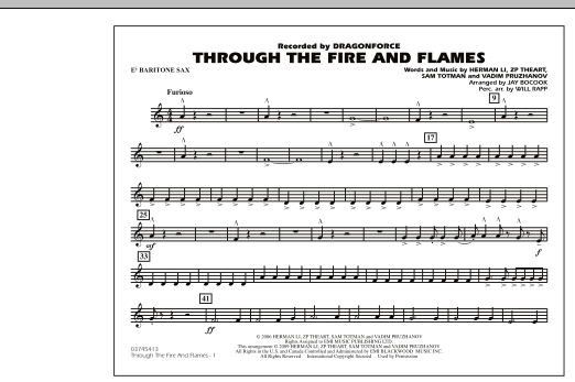 Through the Fire and Flames - Eb Baritone Sax (Marching Band)