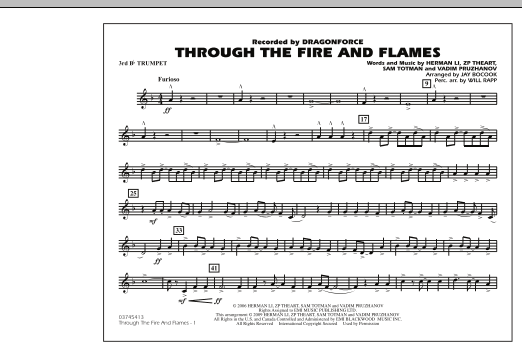 Through the Fire and Flames - 3rd Bb Trumpet (Marching Band)