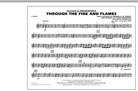 Through the Fire and Flames - F Horn (Marching Band)
