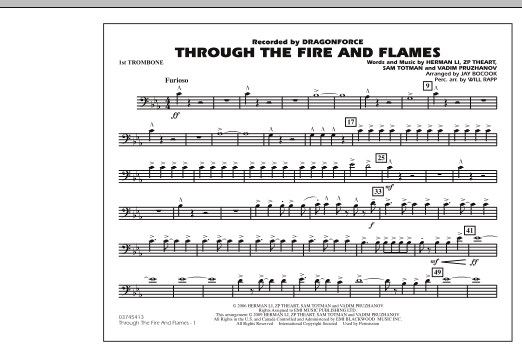 Through the Fire and Flames - 1st Trombone (Marching Band)