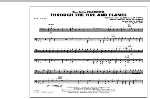 Through the Fire and Flames - Baritone B.C. (Marching Band)