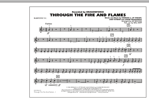 Through the Fire and Flames - Baritone T.C. (Marching Band)