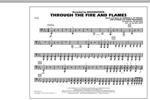Through the Fire and Flames - Tuba (Marching Band)