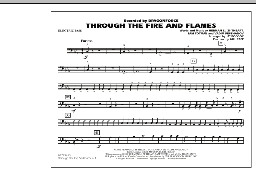 Through the Fire and Flames - Electric Bass (Marching Band)