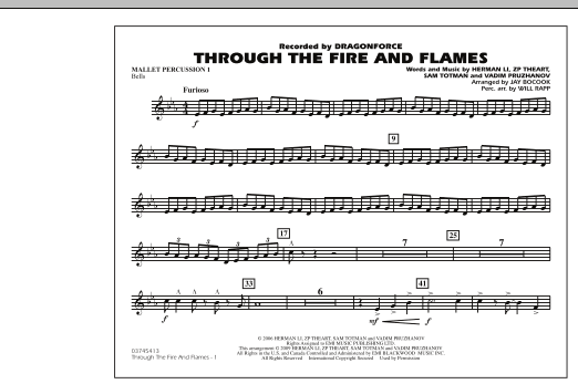 Through the Fire and Flames - Mallet Percussion 1 (Marching Band)