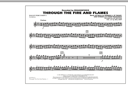 Through the Fire and Flames - Mallet Percussion 2 (Marching Band)