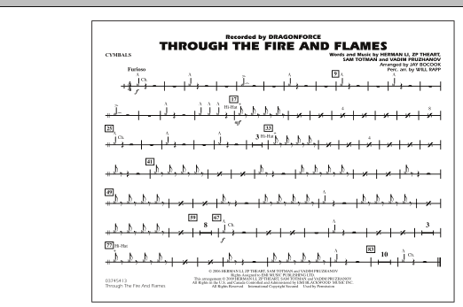 Through the Fire and Flames - Cymbals (Marching Band)