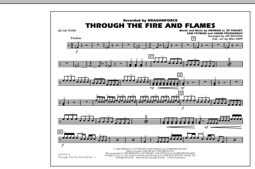 Through the Fire and Flames - Quad Toms (Marching Band)