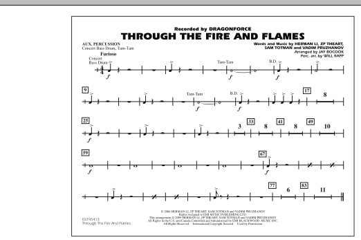 Through the Fire and Flames - Aux Percussion (Marching Band)