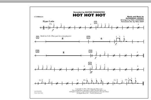 Hot Hot Hot - Cymbals (Marching Band)