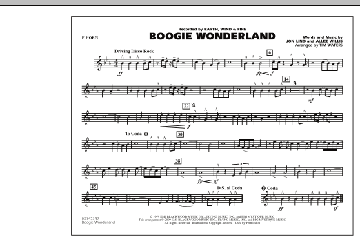 Boogie Wonderland - F Horn (Marching Band)