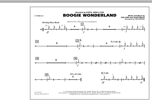 Boogie Wonderland - Cymbals (Marching Band)