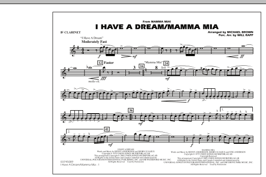 I Have a Dream/Mamma Mia! - Bb Clarinet (Marching Band)