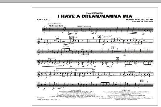 I Have a Dream/Mamma Mia! - Bb Tenor Sax (Marching Band)