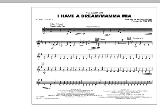 I Have a Dream/Mamma Mia! - Eb Baritone Sax (Marching Band)