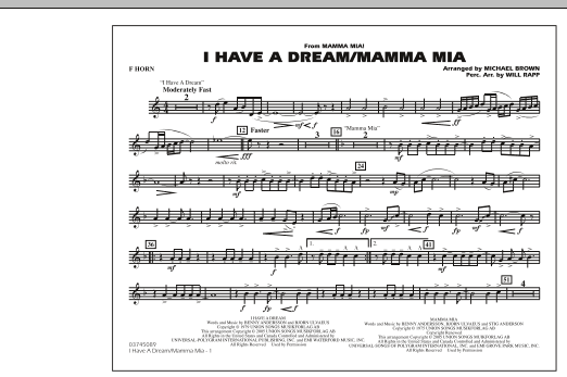 I Have a Dream/Mamma Mia! - F Horn (Marching Band)