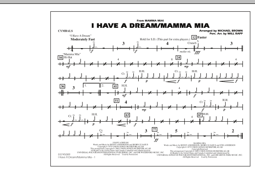 I Have a Dream/Mamma Mia! - Cymbals (Marching Band)