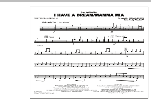 I Have a Dream/Mamma Mia! - Multiple Bass Drums (Marching Band)