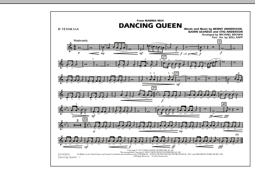 """Dancing Queen (from """"Mamma Mia!"""") - Bb Tenor Sax (Marching Band)"""
