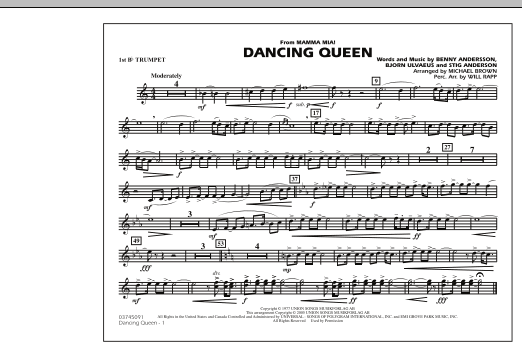 """Dancing Queen (from """"Mamma Mia!"""") - 1st Bb Trumpet (Marching Band)"""