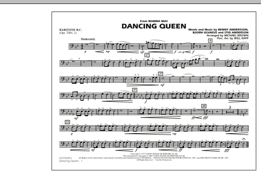 """Dancing Queen (from """"Mamma Mia!"""") - Baritone B.C. (Opt. Tbn. 2) (Marching Band)"""