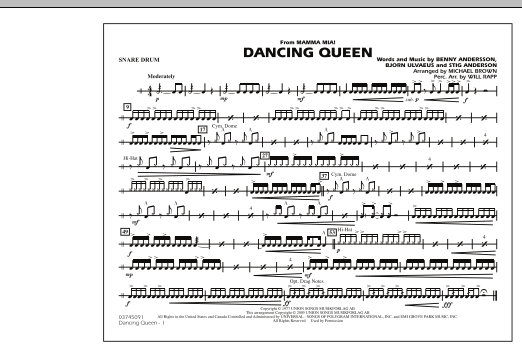 """Dancing Queen (from """"Mamma Mia!"""") - Snare Drum (Marching Band)"""