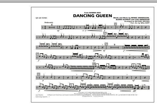 """Dancing Queen (from """"Mamma Mia!"""") - Quad Toms (Marching Band)"""