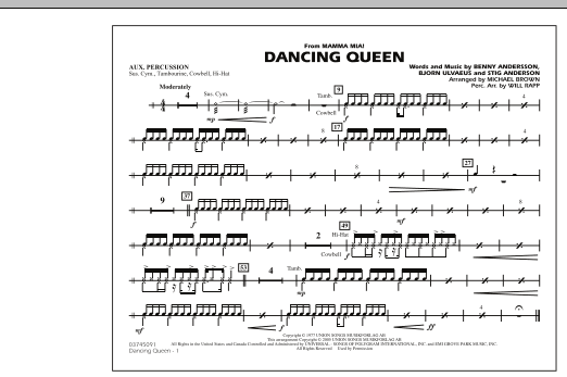 """Dancing Queen (from """"Mamma Mia!"""") - Aux Percussion (Marching Band)"""